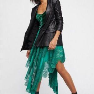 FREE PEOPLE/ Green Velvet Lace Fairy Midi Dress